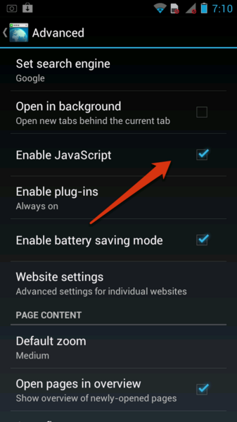 How to enable javascript in Android browser